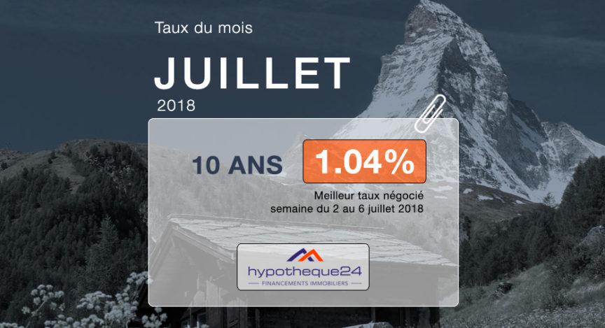 Taux hypothecaires juillet 2018